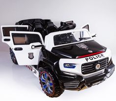2 Seater Police 12v Battery Ed Electric Ride On Kids Toy Car Remote Rc