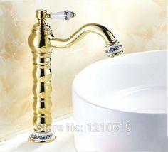 Newly Tall Faucet Solid Brass Bathroom Basin Sink Faucet Golden Polished Mixer Tap Ceramics Base Ceramics Handle Deck Mounted#deck