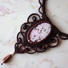 """Колье ""Вишневый сад"" с пьемонтитом. #macrame #necklace #natural #stone #svitoe #handmade #boho #bohemian #beauty #jewerly #pink #fashion"" Photo taken by @akielena on Instagram, pinned via the InstaPin iOS App! http://www.instapinapp.com (11/29/2014)"
