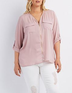 Plus Size Zipper-Trim Tab Sleeve Top #CharlotteRussePlus