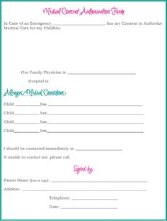 Medical Authorization Form For Babysitter  Babysitter Notebook