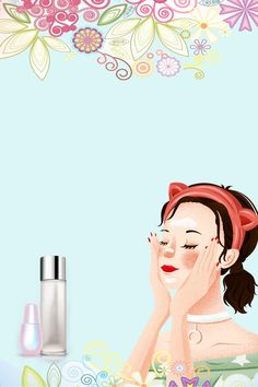 High End Skin Care Cosmetics Beauty Background Summer Background Images, Beauty Background, Flower Background Wallpaper, Cartoon Background, Imagenes Mary Kay, Makeup Drawing, Beauty Illustration, Beauty Cream, Tumblr Photography