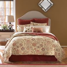 Smith Serene Full-Queen Quilt ONLY . This quilt, which features an intricate floral design on one side and a solid rust-colored tone-on-tone velvety pattern on the reverse. Full-Queen Quilt x cm x Quilt Bedding, Bedding Shop, Twin Quilt, Comforter Set, Master Bedroom, Bedroom Decor, Bedroom Ideas, Bedroom Colors, Dream Bedroom
