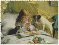 Vintage Girl and her Dog Cross Stitch Pattern, Instant Download PDF