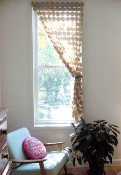 diy project: chela's fabric screen – Design*Sponge Window Coverings, Window Treatments, Yo Yo Quilt, Mini Blinds, Diy Curtains, Curtain Room, Curtain Call, Screen Design, Felt Diy