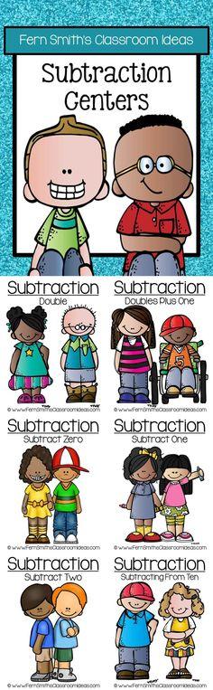 Subtraction Math Centers Six Quick & Easy to Prep Subtraction Center Game Bundle Math Rotations, Math Centers, Fun Math, Math Math, Maths, Teaching Tips, Teaching Math, 1st Grade Math, Grade 2