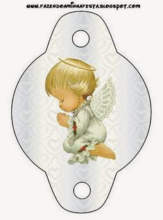 First Communion Free Party Printables in Silver with Precious Moments Angels.