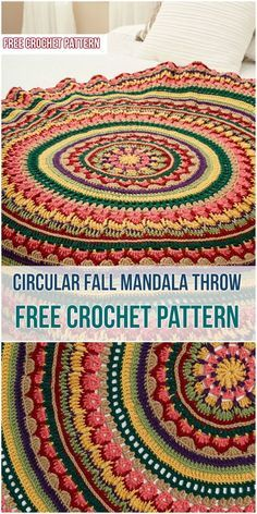 Circular Fall Mandala Throw - Crochet Pattern