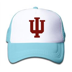 Matthe Youth Children Girl Boy Kids Streetwear Printed Pattern Indiana University Bloomington IU Indiana Hoosiers Logo Unisex Half Mesh Adjustable Baseball Cap Hat Snapback SkyBlue. Youth Fits Most 5-12 Years. Screen Print At Front Panel. 100% Nylon.3 Colors To Choose:Pink,Black, Lightblue. Need 7-14 Working Days Delivery Time. 47-58cm Adjustable.