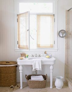 Master Bath with Woven Touches  More of Victoria Pearson's California home