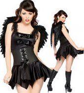 Noir ailé ange siamois jupe