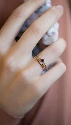 Jennie Kwon Designs Diamond Equilibrium Point Ring, Black Semi Pave Ring, & Black Equilibrium Cuff Ring
