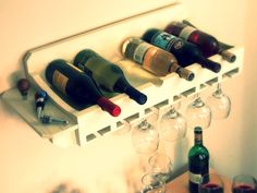 Think you don't have the money or the space for a wine rack?  Try this DIY!