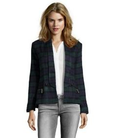 Stories...by Kelly Osbournegreen and navy plaid button front jacket