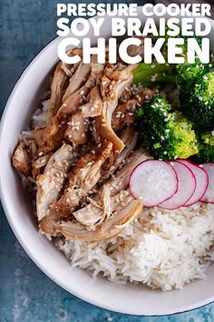 This pressure cooker soy braised chicken is super tender and tastes amazing served over rice with any vegetable you fancy. It's also great served in sandwiches, with noodles or any other way you can think of! Beef Recipes, Chicken Recipes, Healthy Recipes, Top Recipes, Sausage Recipes, Family Recipes, Delicious Recipes, Easy Recipes, Pressure Cooker Chicken
