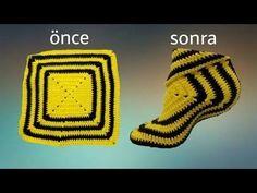 Granny Squares: Over 25 Creative Ways to Crochet t Crochet Boot Socks, Knitted Slippers, Crochet Baby Booties, Loom Knitting, Knitting Socks, Knitting Patterns, Crochet Patterns, Love Crochet, Crochet Granny