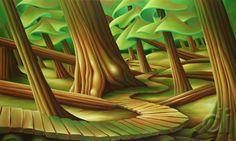 Dana Irving - Winding Down 36 x 60 2012 oil on canvas Landscape Art, Landscape Paintings, Naive, Canadian Art, Surreal Art, Tree Art, Art Techniques, Art Sketches, Sculpture Art