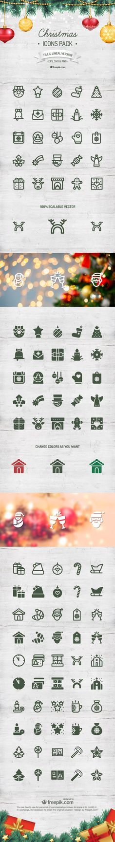 Christmas Icon Pack (100 Icons, 2 Styles, EPS, PNG, SVG)