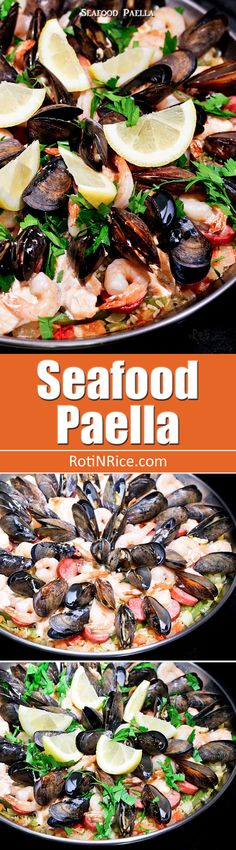 Fabulously tasty and attractive Seafood Paella with sausage, salmon, shrimps…