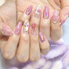 Gold Glitter Nails, Sparkly Nails, Pink Acrylic Nails, Kawaii Nail Art, Cute Nail Art, Really Cute Nails, Pretty Nails, Flame Nail Art, Asian Nails