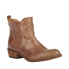 AIRBORN COGNAC LEATHER women's bootie mid casual - Steve Madden
