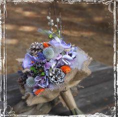 Forest Fantasy Bridal Bouquet - Woodland Weddings - Dragonfly, Fabric Flower, Pine Cone, Pussy Willow, Burlap - Purple, Lavender, Orange. $125.00, via Etsy.