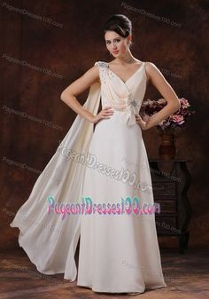 Champagne V-neck Pageant Girl Dresses with Beaded and Bow Decorate