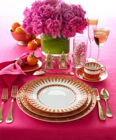 Girls. Now that we've solved who is our fav star people let's eat. this is my Pink-Pink-PInk! table setting. Wine? champagne?.....