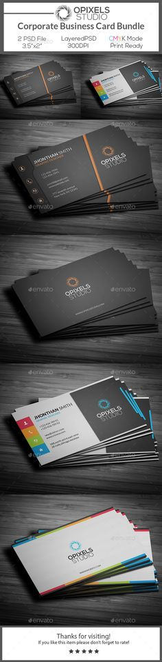 Corporate Business Card Bundle Template PSD #visitcard #design Download: http://graphicriver.net/item/corporate-business-card-bundle/13470270?ref=ksioks