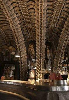 """HR Giger Museum Bar, Gruyeres Switzerland. by HR Giger (of """"Alien"""" film)"""