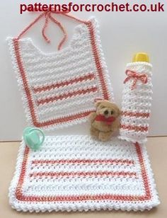 Free baby crochet pattern for Baby shower set from http://www.patternsforcrochet.co.uk/bib-bottle-cover-burp-cloth-usa.html #freecrochetpatterns #patternsforcrochet