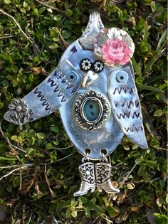 """""""Fancy"""" Owl, spoon pendant. Made from vintage silver-plate spoons. Created by Spoonelicious Flatwear. Spoonelicious.com"""