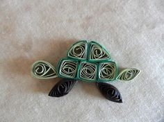 Sage Green and Chocolate Brown Paper Sea Turtle Quilled Handmade Scrapbook/Card Embellishment