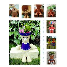 Decorations made of ceramic pots – 18 projects made this summer - Keramik Projekte Flower Pot Art, Small Flower Pots, Clay Flower Pots, Flower Pot Crafts, Clay Pots, Garden Crafts, Diy Garden Decor, Garden Projects, Garden Decorations