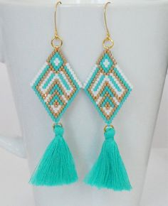 Brick+Stitch+Earrings+with+Tassel+charm-silverturquoise
