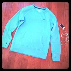 Nike Therma-Fit Aqua Sweatshirt NWOT (m) NWOT Nike Therma-Fit sweatshirt, Aqua, Medium.  So soft and comfy!!! Nike Tops Sweatshirts & Hoodies