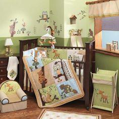 Lambs & Ivy Enchanted Forest 5-Piece Crib Bedding Set Nursery Baby Owl Deer  #LambsIvy