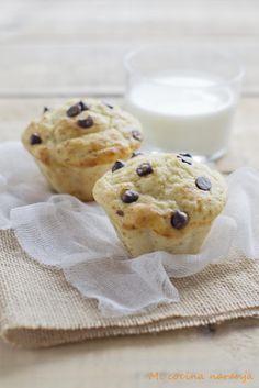 Muffins de plátano y queso con pepitas de chocolate