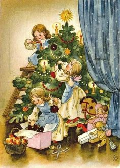 Vintage Christmas Images, Old Christmas, Old Fashioned Christmas, Magical Christmas, Christmas Scenes, Victorian Christmas, Retro Christmas, Vintage Holiday, Christmas Pictures
