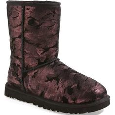 New UGG Australia camo metallic short boots size 6 New with box, bought for myself at Nordstrom in Chicago but now wearing another pair. Size 6. Any questions please ask. Price first unless bundled. Now trade UGG Shoes Winter & Rain Boots