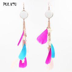 6 Color 2017 Fashion Feather Drop Earrings For Women Natural Star Shell Pendant Bohemia Dangle Earrings Jewelry PULATU EZ0315