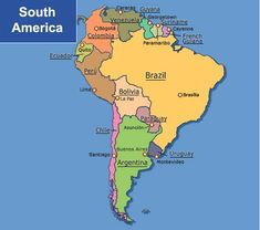 South America Map Amazon Argentina Bolivia Brazil Chile - S america map