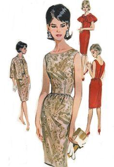 Vintage Sewing Pattern Party Evening Dress Jacket Capelet UNCUT Butterick 2460 Original not a Reproduction Misses Size 14 Bust 34 via Etsy