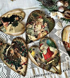 Купить Новогодняя игрушка Винтажное сердце - комбинированный, новогодний подарок, Новый Год, новогодний декор