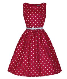 Lindy Bop 50's Audrey Vintage Polka Dot Dress Deep Red