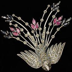 German Sterling Rubies Sapphires and Marcasites Peacock in Flight Bird Pin