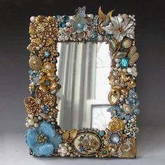 Mirror with Vintage Jewelry Frame in Light Blue by vintagedesign39, $135.00