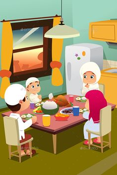Buy Muslim Family Eating Dinner at Home by artisticco on GraphicRiver. A vector illustration of Muslim Family Eating Dinner at Home