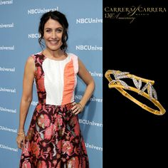 American actress Lisa Edelstein has become a huge fan of Carrera y Carrera's jewels! We love how she combined her luxurious Bambú bracelet in yellow gold and diamonds for the NBCUniversal Upfront