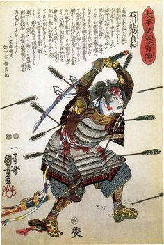 Kuniyoshi, c. 1848 Sadatomo at the battle of Shidzu-ga-mine - armoured but helmetless and bristling with arrows, he continues heroically to wield his damaged long-sword. Japanese Art Samurai, Japanese Artwork, Japanese Painting, Japanese Prints, Ronin Samurai, Samurai Warrior, Era Edo, Japanese Woodcut, Grand Art
